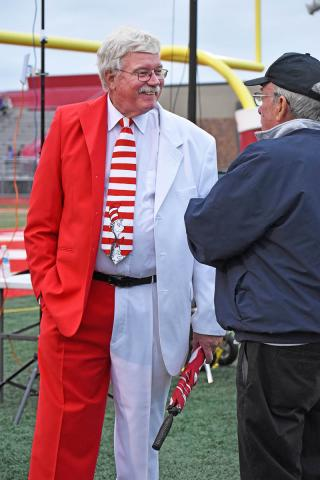 Dressed in his red & white HF suit, Andy Lindstrom from Homewood shows his support for H-F High during the homecoming football game.