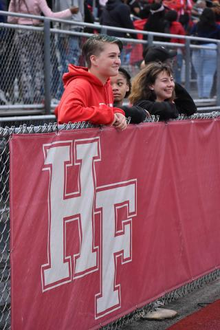 H-F High students, from left, Lily Denk of Homewood, Jade Griffin of Hazel Crest and Paige Porco of Homewood watch the football game on Friday night.
